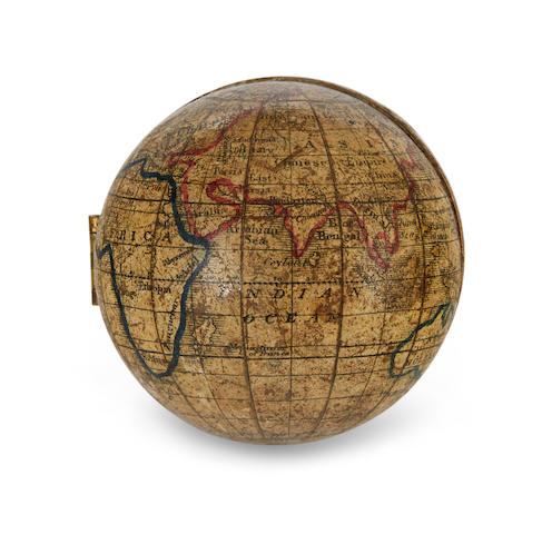 SEMI-SPHERICAL EDUCATIONAL GLOBE; HOLBROOK. [Terrestrial globe.] Wethersfield, Ct: Holbrook's Apparatus Mfg. Co., c.1855.
