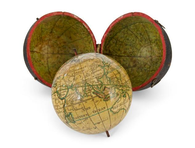 POCKET GLOBE; LANE, Nicolas. A New Globe of the Earth. [London], 1776.