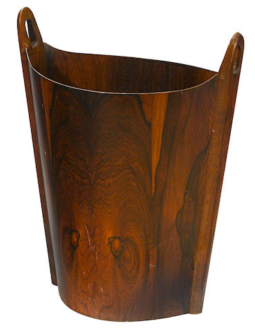 An Einar Barnes rosewood waste paper basket designed circa 1965 for P. S. Heggen