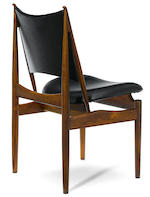A set of six Finn Juhl leather upholstered rosewood Egyptian chairs designed 1949 for Niels Vodder