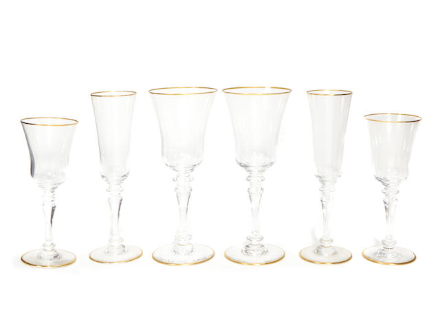 A suite of Baccarat gilt heightened glass stemware