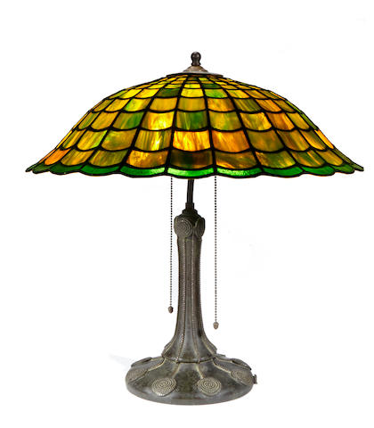 A Handel leaded glass and patinated metal lamp  early 20th century