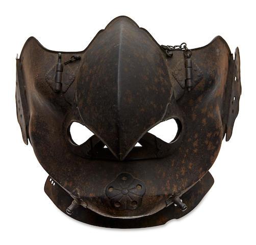 A russet-iron tengu menpo Edo period (18th century)