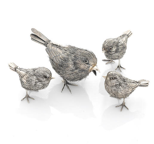 A set of four silver birds, Buccellati