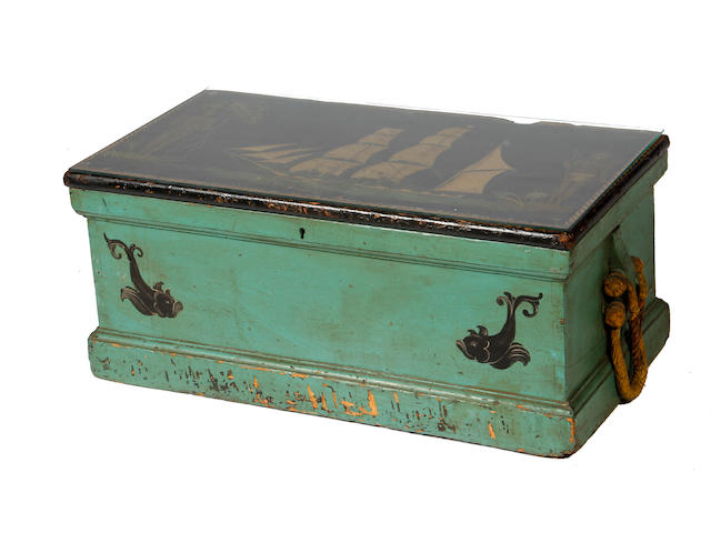 A painted and decorated seaman's chest possibly American 19th century