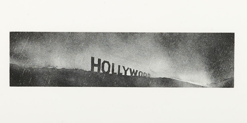 Edward Ruscha (born 1937); Hollywood in the Rain;