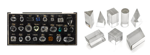 A set of paste replicas of historical diamonds together with a partial set of geometric shapes