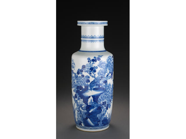 A blue and white rouleau vase Kangxi period