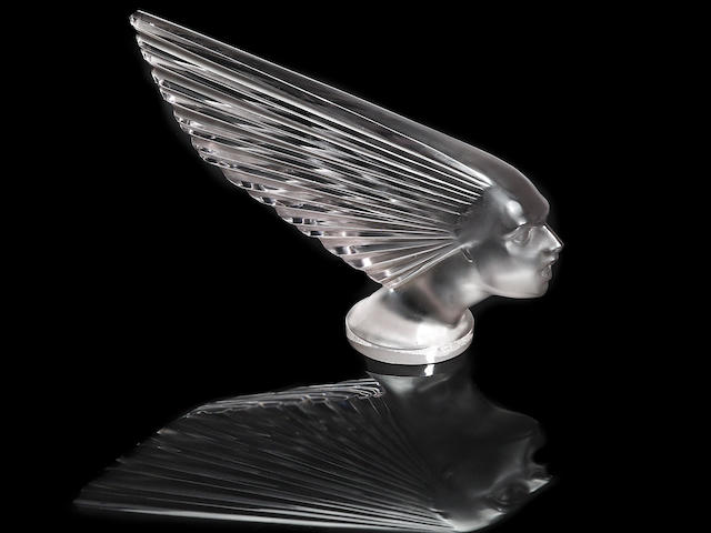 A rare 'Victoire' glass mascot by René Lalique, French, 1928,