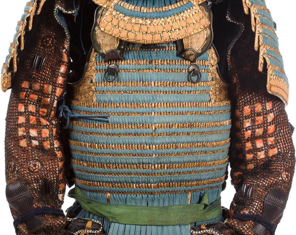 "A fine ""Dutch leather"" honkozane blue laced armor for a Daimyo Edo period (early 18th century), the helmet by Myochin Nagamichi"