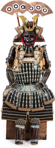 A black lacquer Daimyo armor with a mogami do The helmet by Myochin Munehisa, late Muromachi period (16th century), the armor Edo period (18th century)