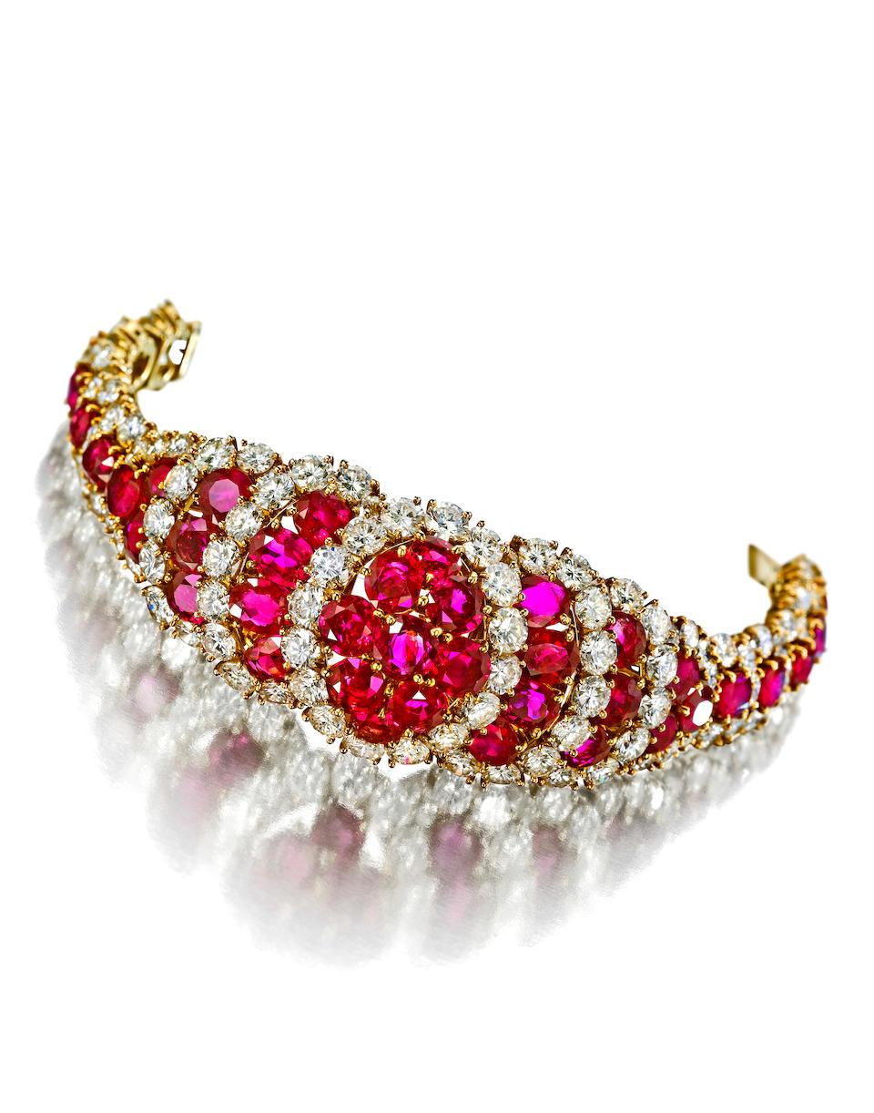 A ruby and diamond bracelet, Van Cleef & Arpels