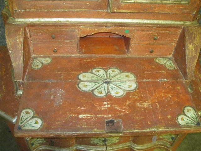 An Italian Baroque paint decorated secretary cabinet