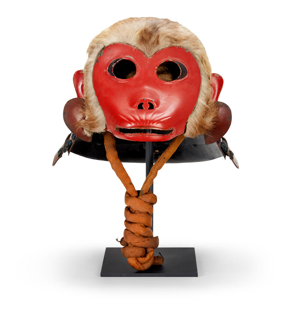 A festival helmet designed as a monkey Edo period (late 18th century)