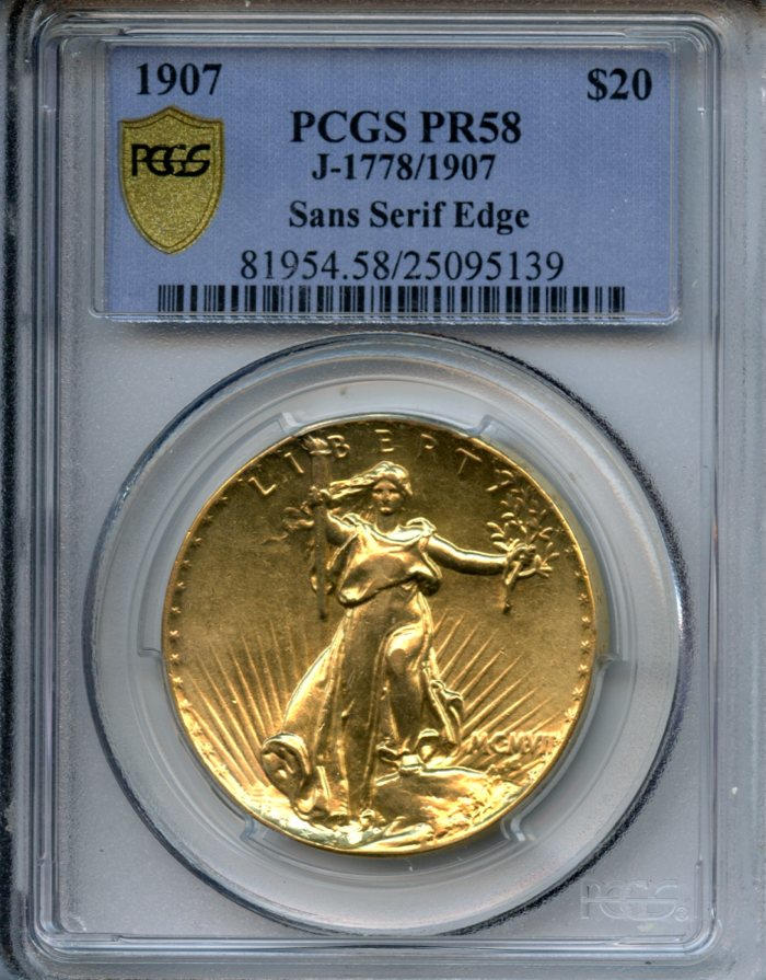 MCMVII (1907) Ultra High Relief $20, Sans Serif (Inverted) Lettered Edge, Judd-1907, Proof 58 PCGS