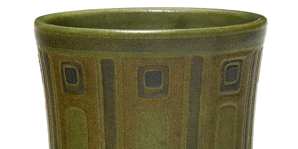 A Marblehead Pottery green glazed earthenware corseted vase with geometric decoration of stems and squares designed by Arthur Irwin Hennesey, decorated by Sarah Tutt