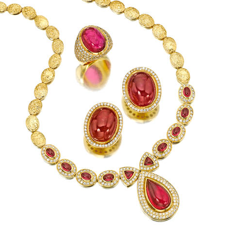 A suite of pink tourmaline, diamond and eighteen karat gold jewelry