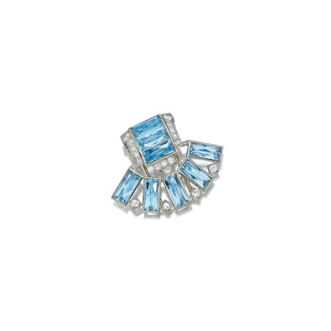 An aquamarine and diamond clip, Cartier