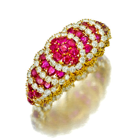 A ruby and diamond bracelet, Van Cleef & Arpels