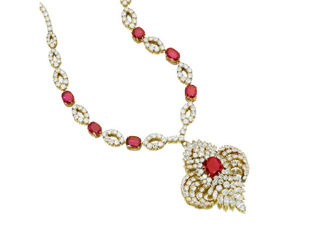 A ruby and diamond pendant/brooch and neckalce, M. Gerard,