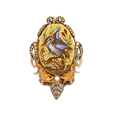An art nouveau enamel, diamond and gem-set locket