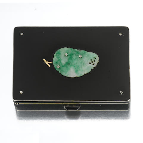 An art deco jadeite jade, enamel and diamond compact, Cartier, French,