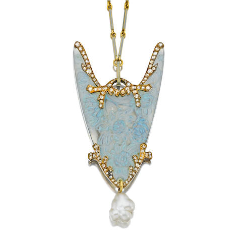 An art nouveau glass, baroque pearl, diamond and enamel pendant necklace, René Lalique,