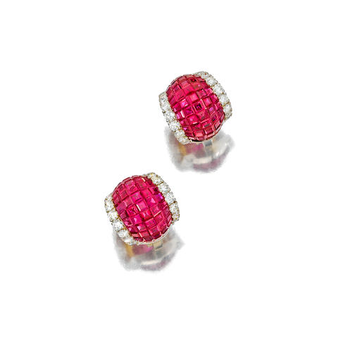 A pair of ruby and diamond earclips, Aletto Brothers