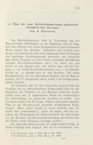 EINSTEIN, ALBERT. 1879-1955. 14 articles published in Annalen der Physik. Vierte Folge. Leipzig: Johann Ambrosius Barth, 1906-12.