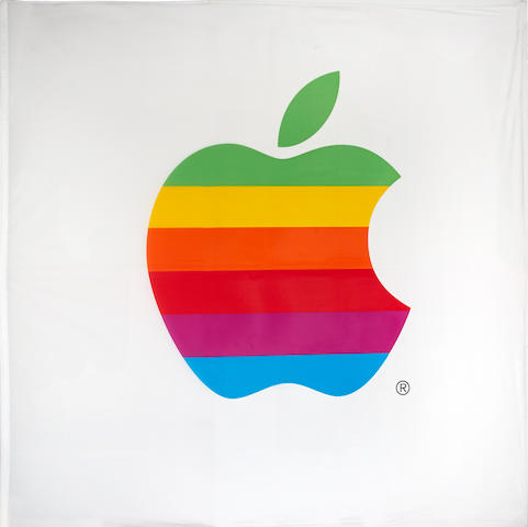 APPLE COMPUTER, INC. An original European headquarters flag, approximately 76½ x 75 inches, ca 1996.