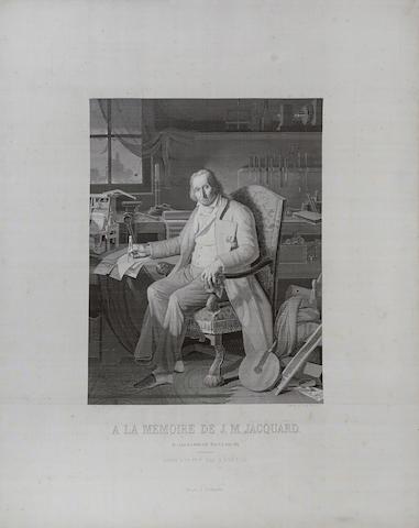 WOVEN SILK PORTRAIT OF JACQUARD. À la Mémoire de J.M. Jacquard, Né à Lyon le 7 Juillet 1752, Mort le 7 Août 1834. Lyon: Didier Petit et Cie, 1839.