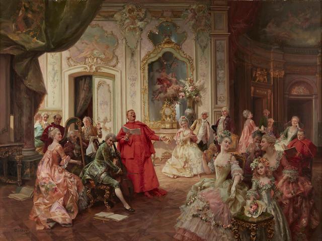 Cesare Auguste Detti (Italian, 1847-1914) A delightful performance 20 3/4 x 35 1/2in (52.8 x 90cm)