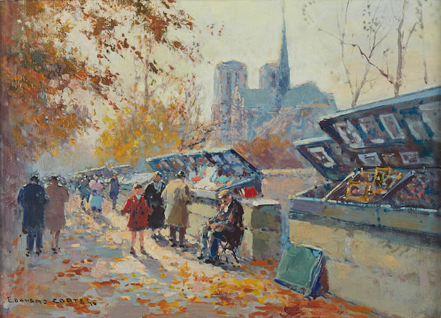 Edouard Henri Leon Cortès (French, 1882-1969) Bouquinistes along the Seine 13 x 18in (33 x 45.8cm)