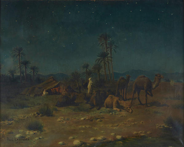 Paul Jean Baptiste Lazerges (French, 1845-1902) Rest under a starry sky 23 1/2 x 29in (60 x 73.6cm)