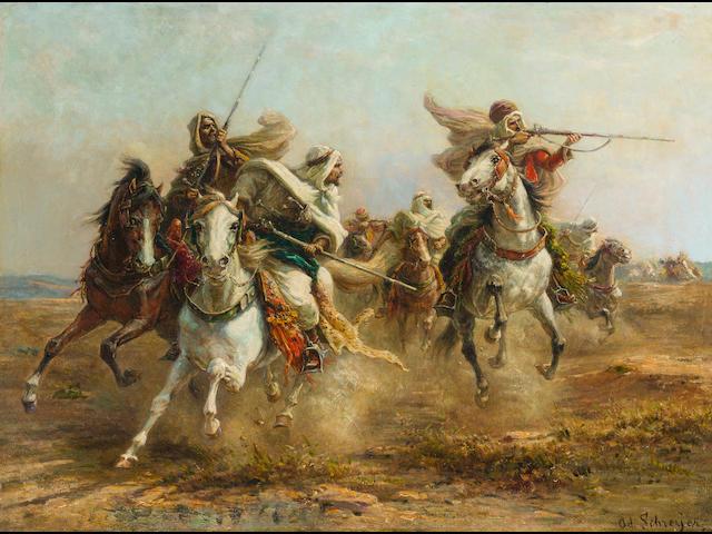 Adolf Schreyer (German, 1828-1899) Bedouins taking aim 21 1/4 x 29in (54 x 73.8cm)