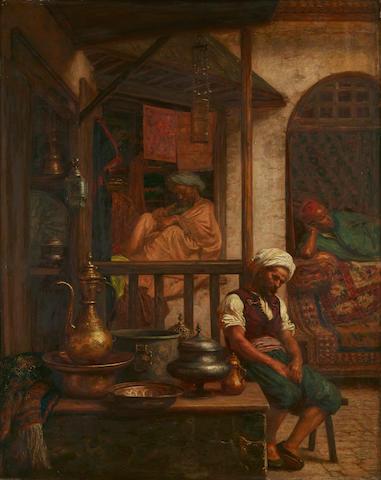 John Evan Hodgson (British, 1831-1895) An afternoon in the bazaar 30 x 23 3/4in (76.3 x 60.5cm)