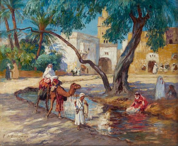 Frederick Arthur Bridgman (American, 1847-1928) A view of an Algerian village 15 1/8 x 18 1/8in (38.5 x 36.5cm)