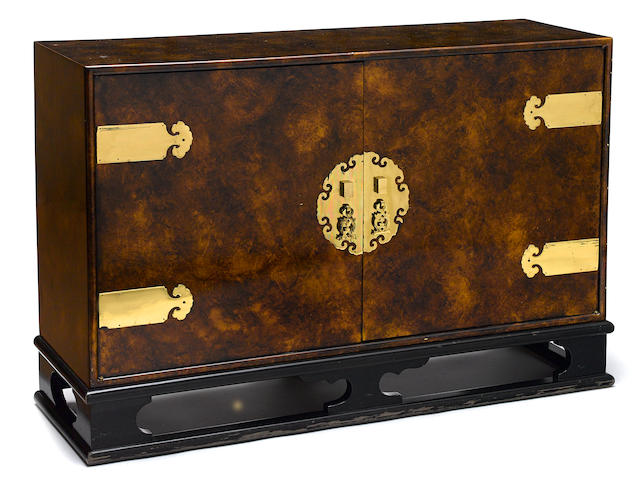 A Chinoiserie lacquered faux-parchment side cabinet circa 1975