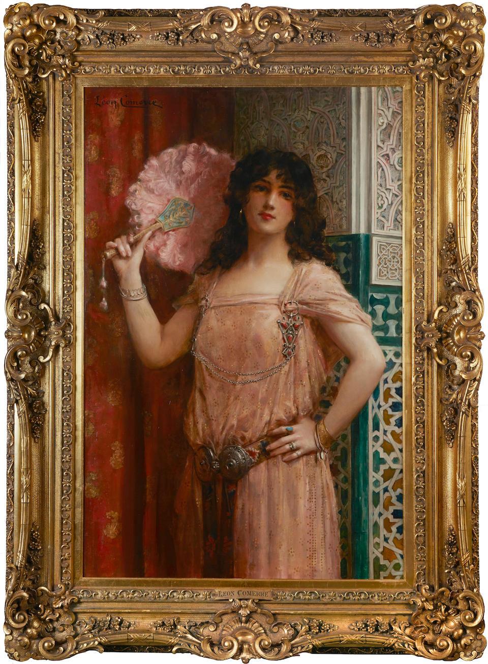 Léon François Comerre (French 1850-1916) A harem beauty holding a pink fan 46 3/4 x 30 1/2in (119 x 77.5cm)