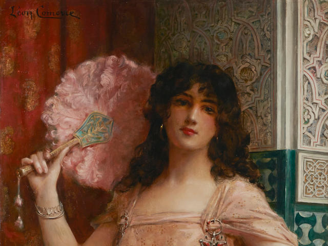 Léon François Comerre (French 1850-1916) A harem beauty holding a pink fan 46 3/4 x 30 1/2in (119 x 77.5cm)