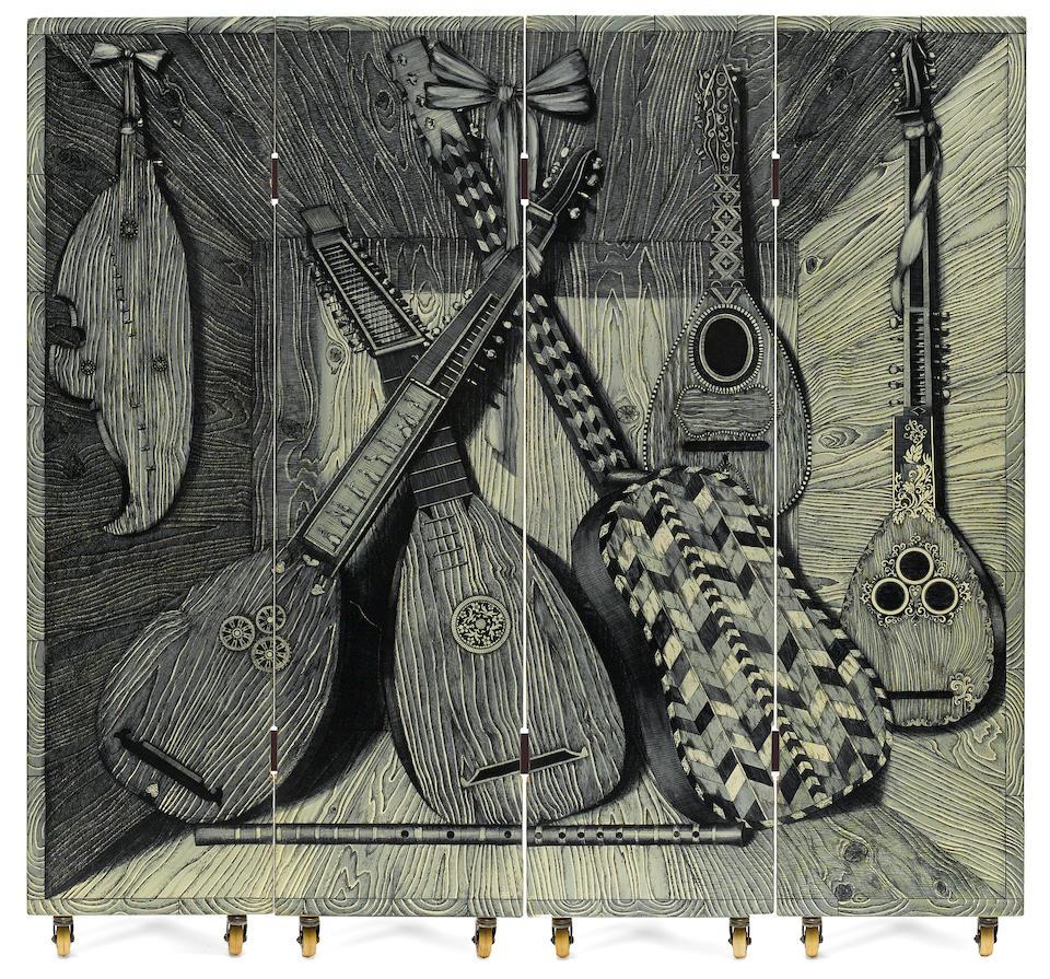 A Piero Fornasetti Strumenti Musicali/Libri four panel screen designed 1954, executed circa 1960 by Fornasetti Milano