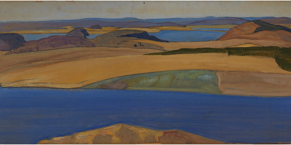 Nikolai Konstantinovich Roerich (Russian, 1874-1947) 'Tulola', 1918 29.8 x 67.8cm (11 3/4 x 26 3/8in).