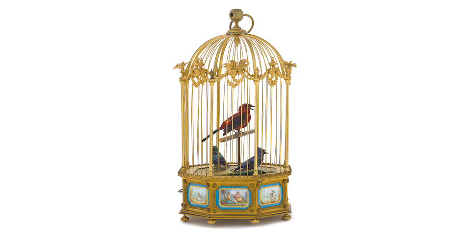 A French gilt bronze and Sèvres style porcelain mounted triple singing bird automaton Bontems, Parislate 19th century