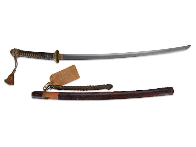 Iwo Jima captured sword: A Japanese Type 94 Shin-Gunto Officer's Sword Recovered from the battlefield of the last charge of the Japanese Forces, Found at Airfield No 2, on the morning of  March 26 1945 Length 100 in (254 cm)