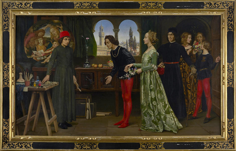 Eleanor Fortescue-Brickdale (British, 1871-1945) Boticcelli's studio: The first visit of Simonetta presented by Giulio and Lorenzo de Medici 29 1/2 x 49 3/4in (75 x 126.5cm)