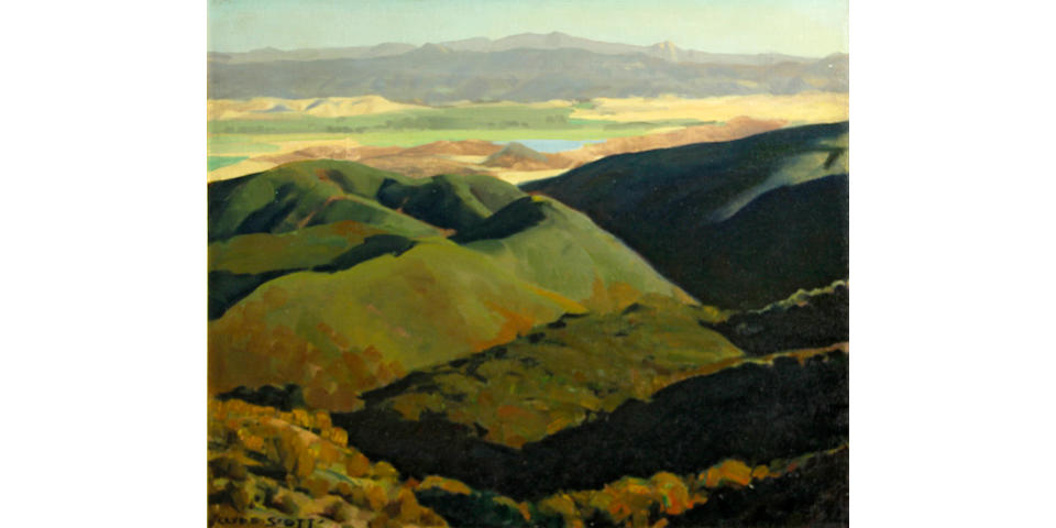 Clyde Eugene Scott (American, 1884-1959) Canyon shadows  20 x 24in