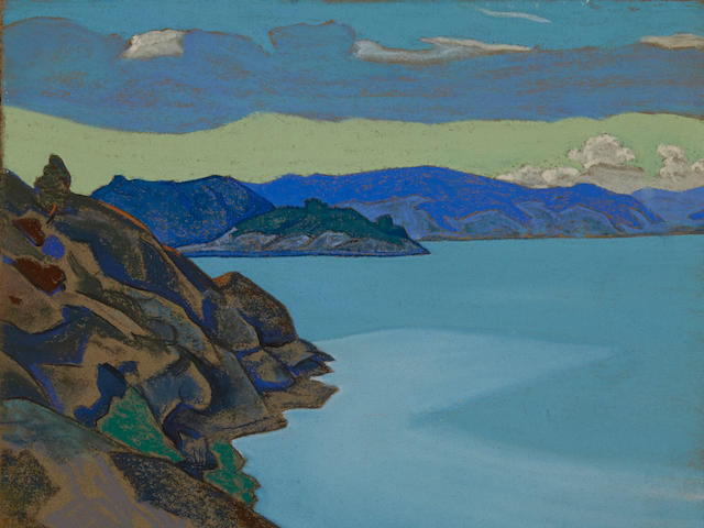 Nikolai Konstantinovich Roerich (Russian, 1874-1947) 'Lake Hympola', 1917  40 x 43.5cm (15 3/4 x 17 1/8in).
