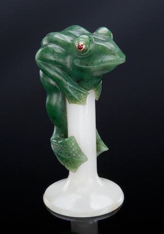 Nephrite and White Chalcedony Cane Handle