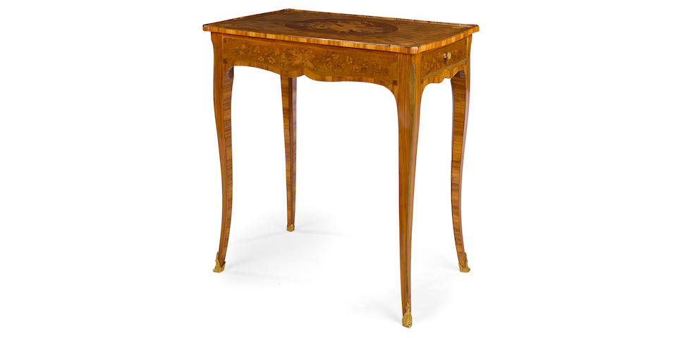 A Louis XV gilt bronze mounted marquetry table à écrire Jacques Jacques Bircklé third quarter 18th century