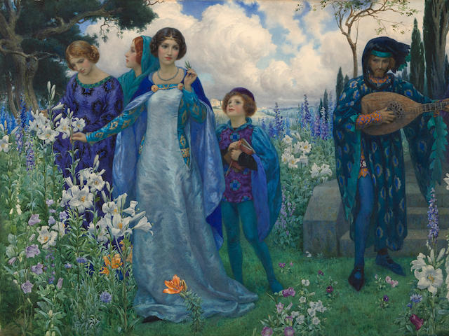 Harry George Theaker (British, 1873-1954) A song of love 20 1/4 x 28 1/2in (51.3 x 72.3cm)